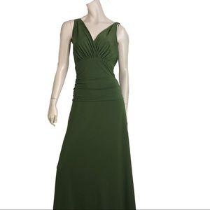 Designer Green Gown V Neck Ruched Full Length Maxi